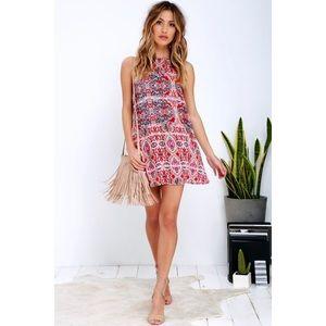 Lulus Sleeveless Abstract Major Shift Swing Dress